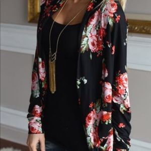 Black and floral open cardigan roses